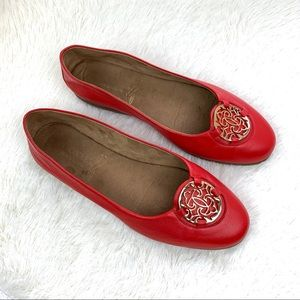 Aerosoles Size 10W Leather Red Flats Shoes Soft